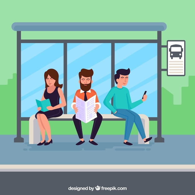 People waiting for the bus with flat design Free Vector