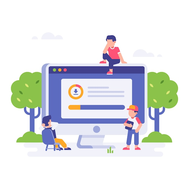 People waiting for download finished with big desktop monitor Premium Vector