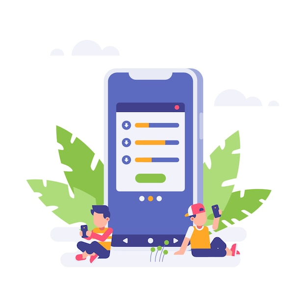 People waiting for download finished with big smartphone Premium Vector