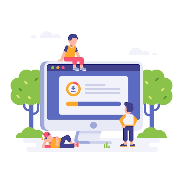 People waiting for download finished Premium Vector