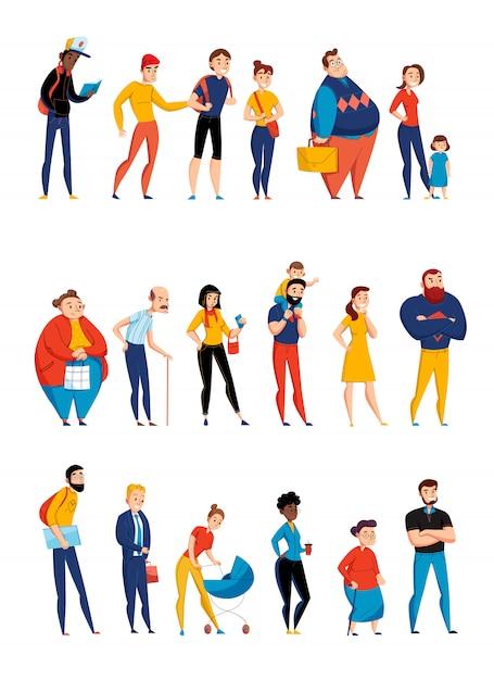 Люди, ожидающие в очереди, выстраивающиеся в линию 3 плоских горизонтальных набора с молодыми родителями и пожилой иллюстрацией Бесплатные векторы