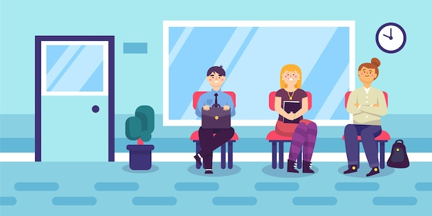 People waiting job interview illustration Free Vector