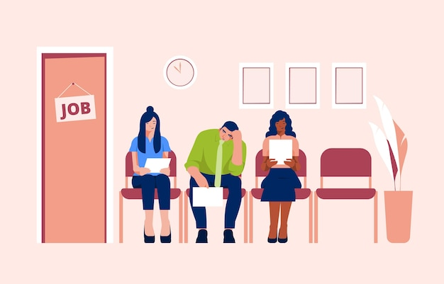 People waiting for job interview Free Vector