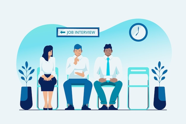 People waiting for a job interview Free Vector