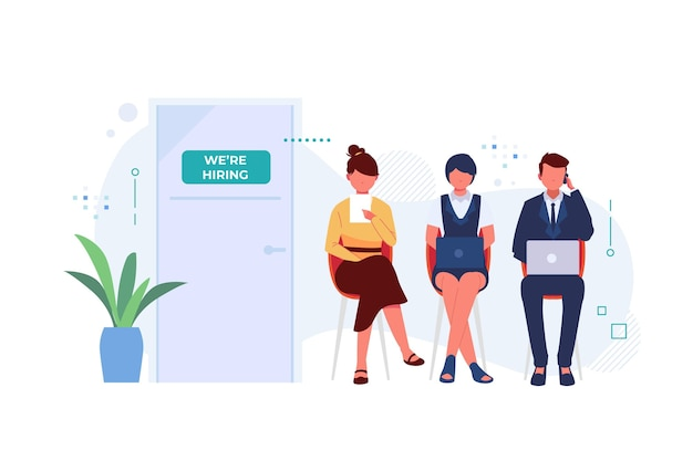 People waiting in line for a job interview Premium Vector