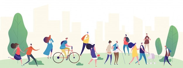 People walk in the city park  illustration Premium Vector