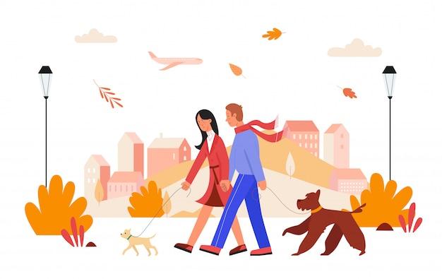 人々は秋の市の日のイラストで歩きます。漫画幸せな男性女性恋人カップルのキャラクターが手を繋いでいる、秋の街並みでペットの犬を連れて歩いて、白の愛の関係 Premiumベクター