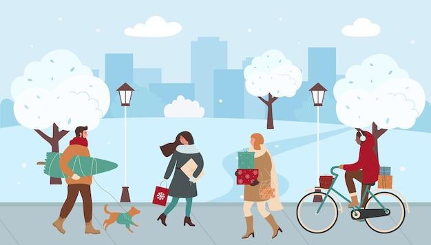 Люди ходят по городской улице, спешат на рождественскую ярмарку Premium векторы