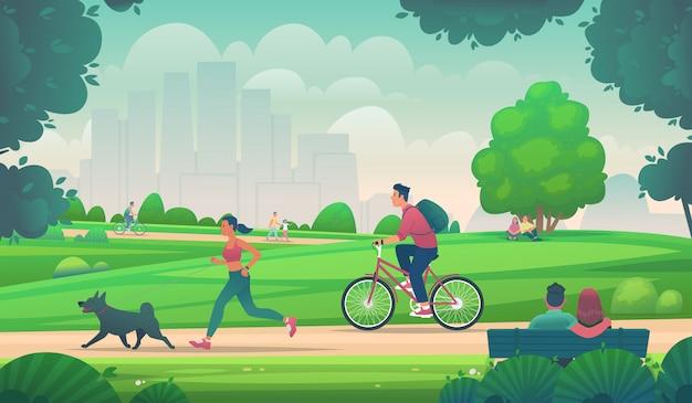 Люди ходят, бегают и катаются на велосипеде в городском парке. активный образ жизни в городских условиях. отдых на природе. векторные иллюстрации в мультяшном стиле Premium векторы