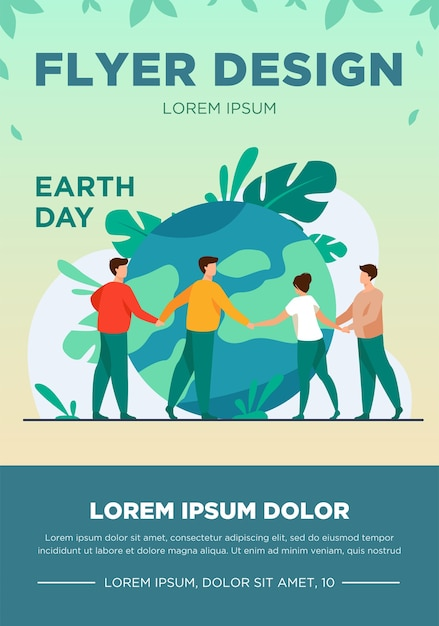 People walking around globe and holding each other by hands flat vector illustration. tiny people saving world ecology. big planet. earth day environment saving and nature care concept Free Vector