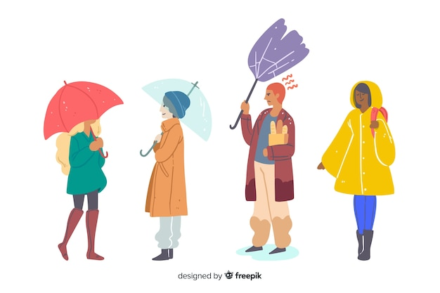 People walking in autumn collectio Free Vector