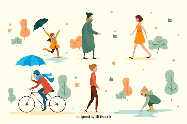 People walking in the autumn park flat design Free Vector