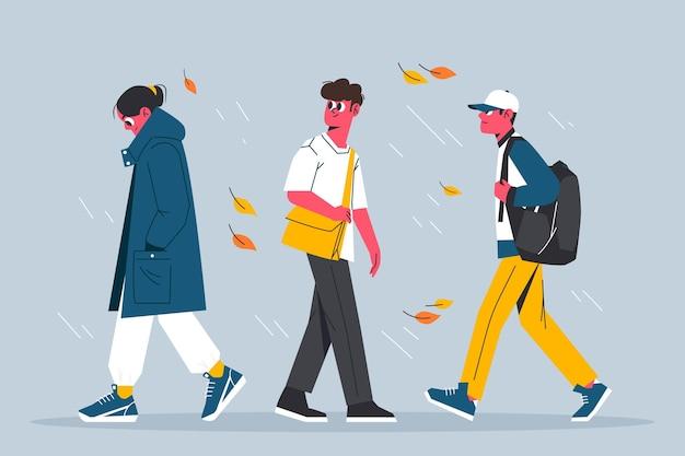 People walking in autumn Free Vector