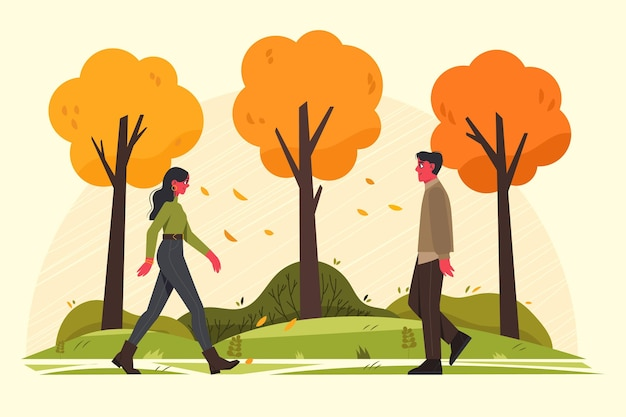 People walking in autumn Free Vector