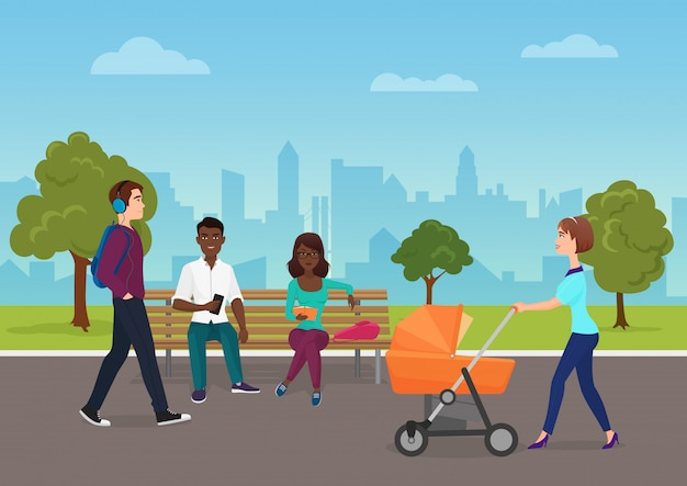 People walking in city public park Premium Vector