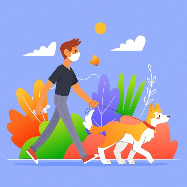People walking the dog concept Free Vector