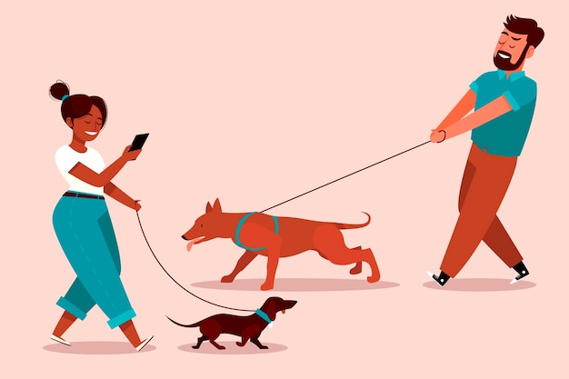 People walking the dog Free Vector