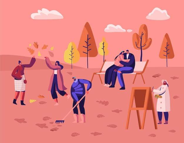 다채로운 나무와 낙엽 사이에서 가을 도시 공원에서 산책하는 사람들. 만화 평면 그림 프리미엄 벡터