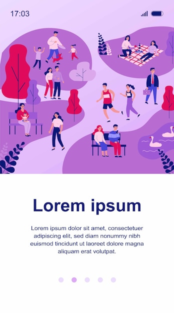 People walking in park, jogging and eating at picnic   illustration. family playing with dog. couple sitting at bench near pond and looking at swans. summer and leisure concept Premium Vector
