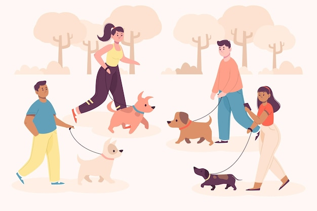 People walking in park with their dogs Free Vector