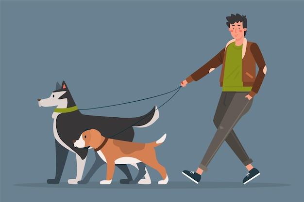Люди гуляют с собакой Бесплатные векторы