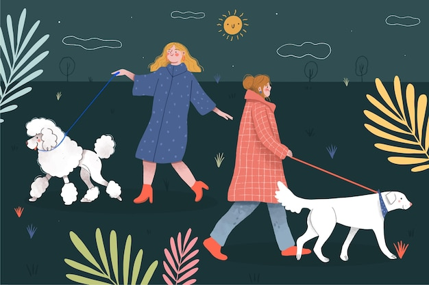 犬のコンセプトを歩く人 無料ベクター