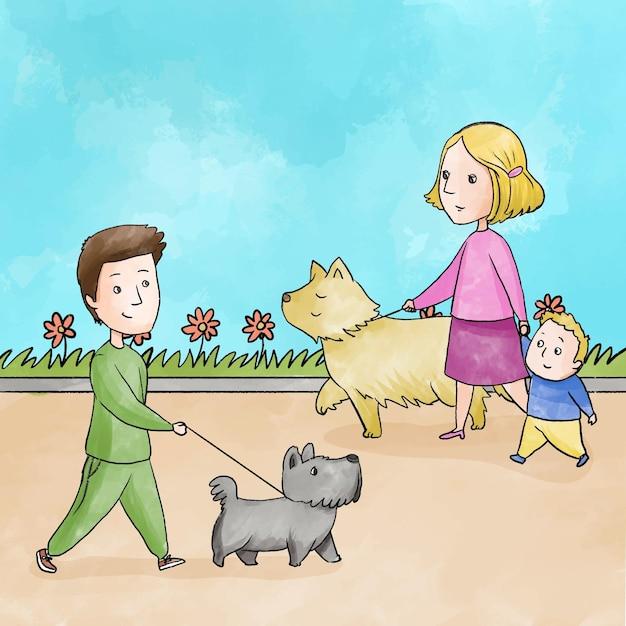 Люди гуляют с собакой на улице Бесплатные векторы