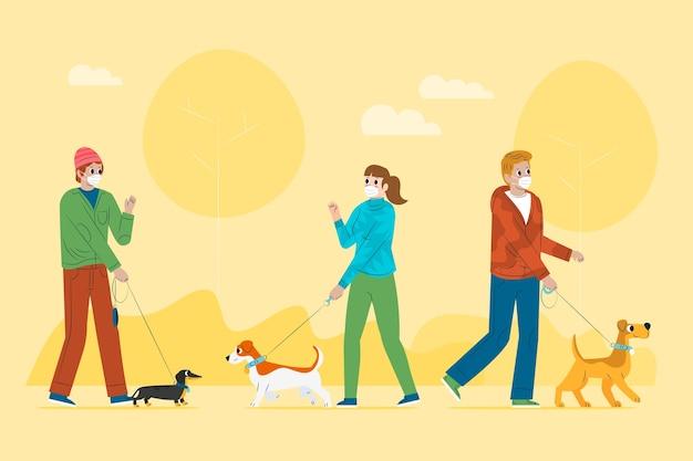 犬の散歩 無料ベクター