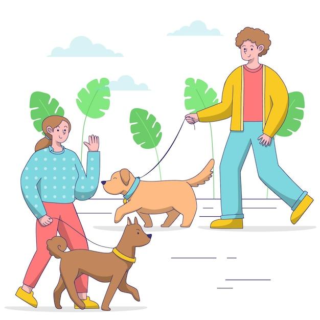 犬の散歩の人 無料ベクター