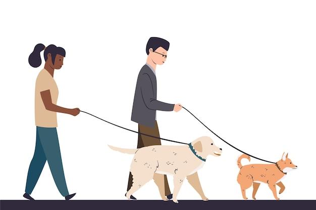 Люди гуляют со своей собакой вместе Бесплатные векторы