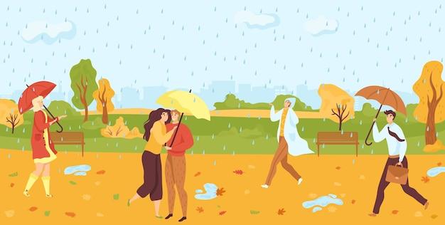 秋の雨の公園フラットで傘の下を歩く人々 Premiumベクター