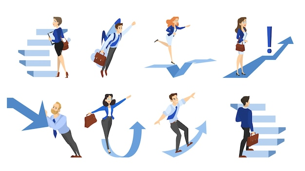Люди, идущие по лестнице или стрелка вверх. идея роста и прогресса. сборник деловых персонажей поднимется к успешной жизни. изолированные плоские векторные иллюстрации Premium векторы