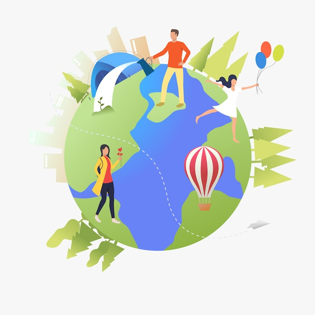 People walking, watering plants and camping on earth globe Free Vector