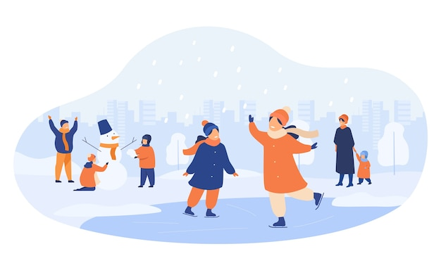 People walking in winter park isolated flat vector illustration. cartoon men, women and children ice skating and making snowman. Free Vector