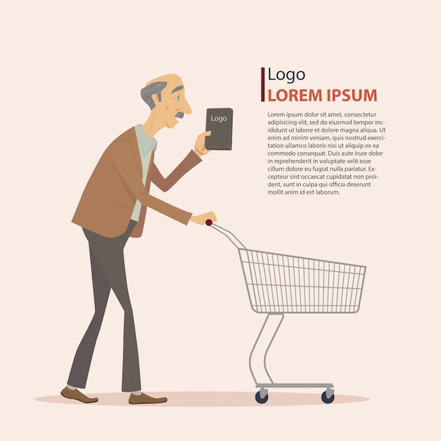 People walking with a shopping cart. Premium Vector