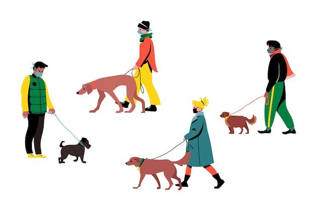 Persone che camminano con i loro simpatici cani Vettore gratuito