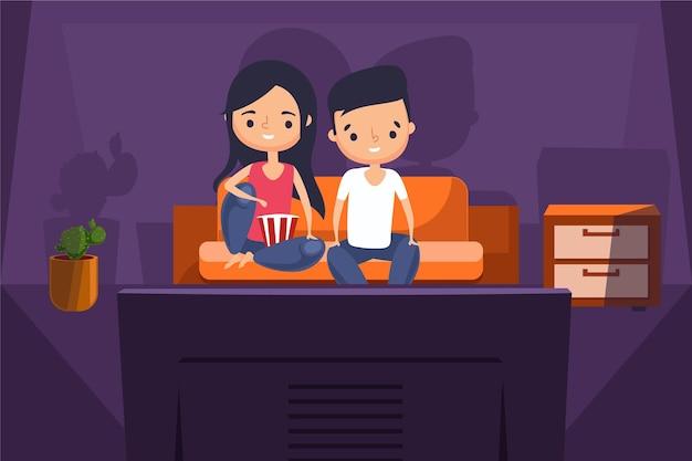家でテレビで映画を見ている人 無料ベクター