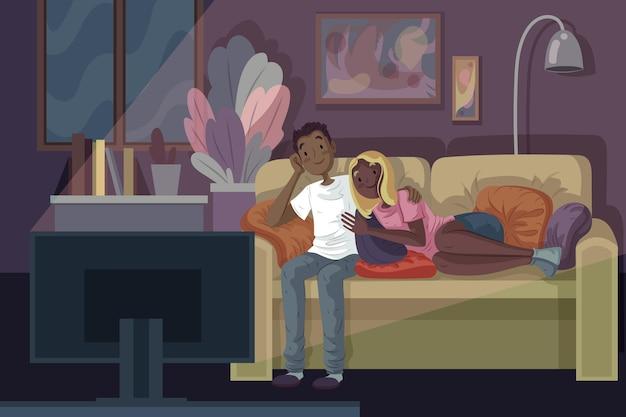 家で映画を見ている人 無料ベクター