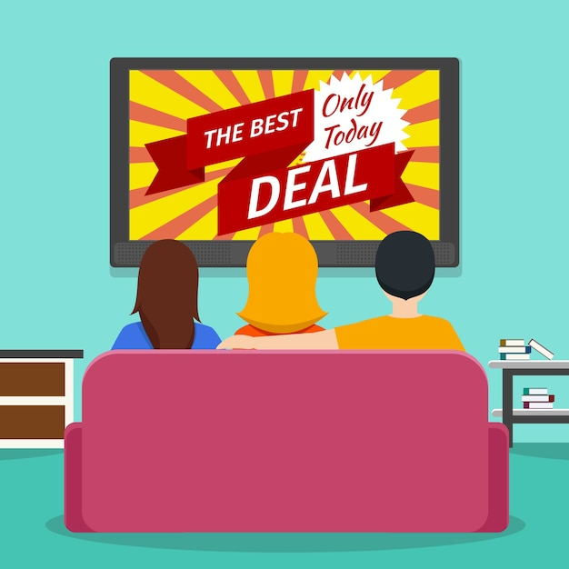Persone che guardano la televisione pubblicitaria. comunicazione su schermo e tecnologia multimediale. vector piatta illustrazione Vettore gratuito