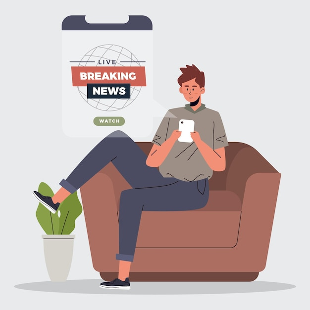 People watching breaking news on the phone Free Vector
