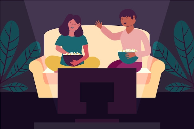 People watching a movie at home together Free Vector