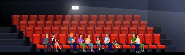 People watching movie vector illustration. cinema interior Premium Vector