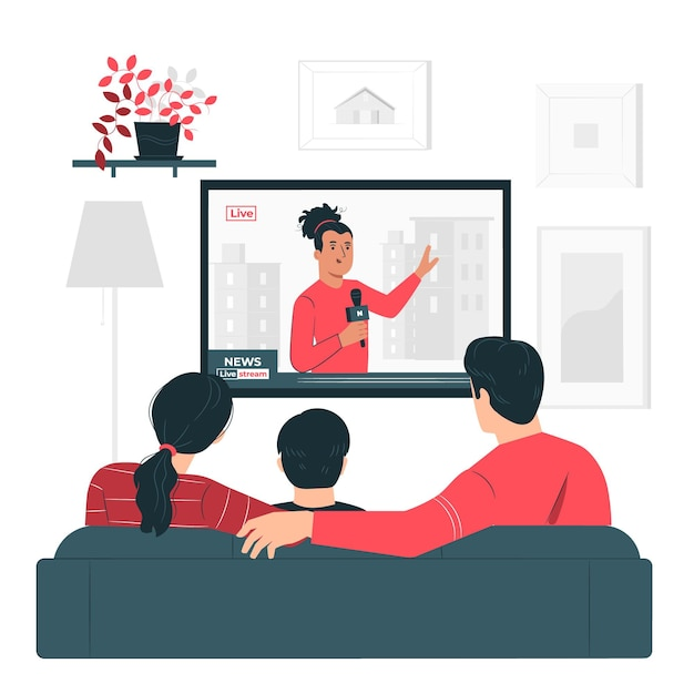 People watching the news concept illustration Free Vector