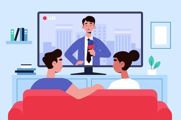 Photo 2 personnes regardant la télévision