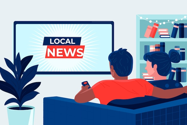 People watching the news at home Free Vector
