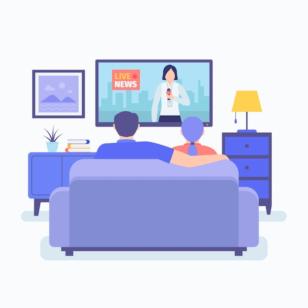 People watching the news Free Vector