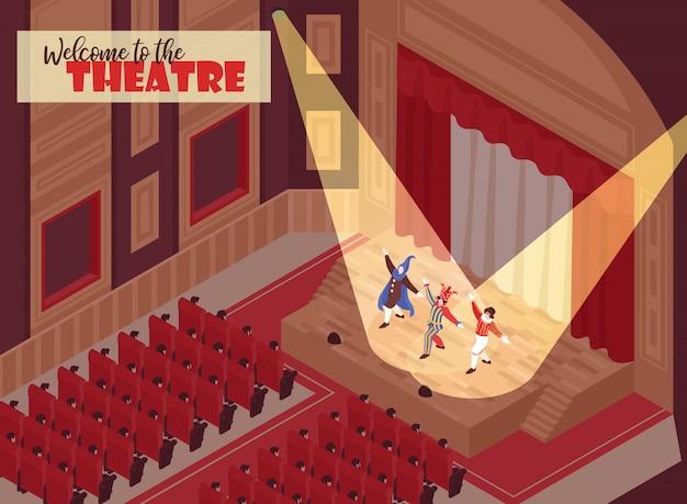 Люди смотрят спектакль в оперном зале театра 3d изометрии Бесплатные векторы
