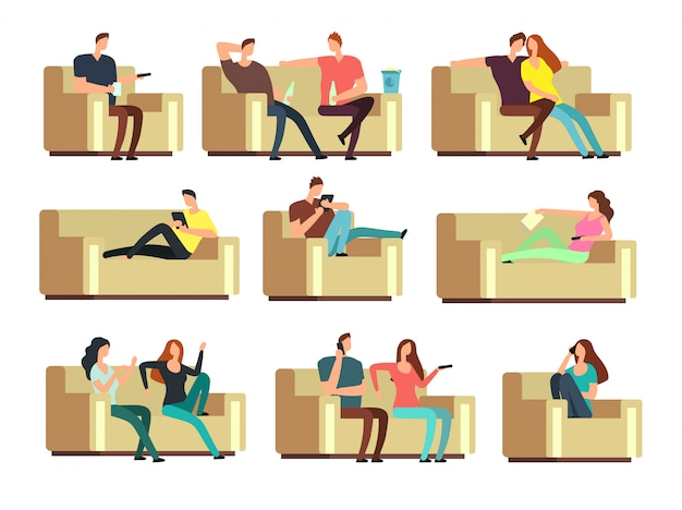 People watching tv, resting with phone, snacking on couch. characters on holiday vector set Premium Vector