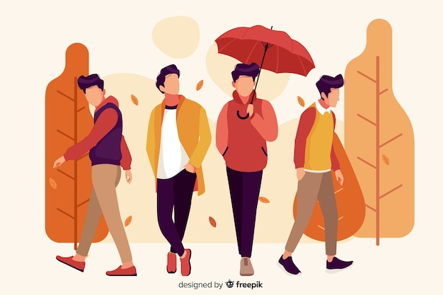 People wearing autumn clothes illustration Free Vector