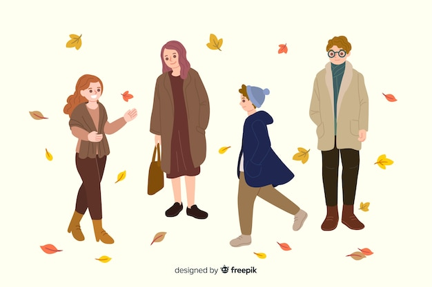 People wearing autumn clothes illustrations Free Vector